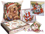 Календари, чехлы, прихватки, подушки с щенками и собакими